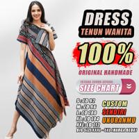 Baju Dress Batik Gaun Pesta Wanita Cantik Ori Kain Tenun Troso