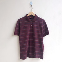Kaos Polo Shirt Uniqlo Stripe - Maroon