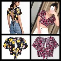 Crop Top Floral H&M Ori Store / Atasan wanita flowers v-neck /sexy top