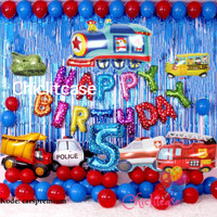 paket set balon birthday ulang tahun cars mobil train truk dekorasi - angka 9