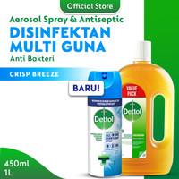 Dettol Disinfectant Spray Crispy Breeze 450ml New + Antiseptic Liquid