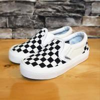 Sepatu Anak Vans Slip On OG Checkerboard Black White Grade Original