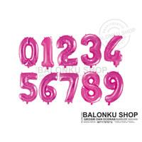 Balon Foil Angka Jumbo Pink Polos 80 Cm / Balon Angka Jumbo 80cm