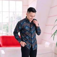 baju kemeja batik pria lengan panjang pendek modern pesta kantor gb 67