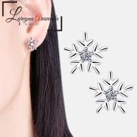 Anting Wanita Titanium Motif Snow Kristal Crystal Anti Karat AT064