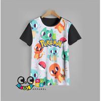 kaos anak PIKACHU baju anak POKEMON v2 (9-12) - 9-10 tahun