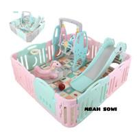 Playground Anak Paket Lengkap Pagar Bayi Perosotan Ayunan Jungkitan