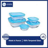 Duralex Tempat Makan Lunch Box Clear Set 5 Pcs (Tempered Glass)