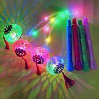 lampu lampion pegang tangan bulat mainan lantern led single lentera de - single hijau