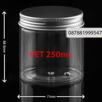 toples jar botol plastik 250 ml tutup alumunium
