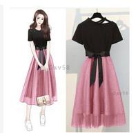 Baju Midi Dress Outfit Pakaian Pesta Natal Casual Wanita Remaja Pink D