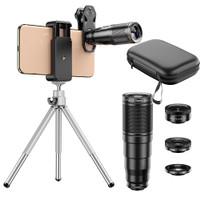 APEXEL 4 in 1 Lensa Smartphone Telephoto Wide Macro Fisheye