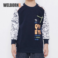 Welborn Kids Sweater Navy Putih Tangan Abstrak Anak Laki