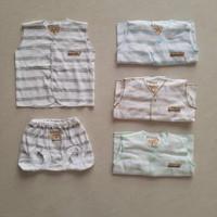 CHIYO Setelan Baju Kutung Celana Pop /Baju Bayi 0-3 bln - Putih Stripe
