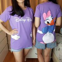 BM - Kaos Wanita Purple Disney Daisy Duck Baju Character Tee YJH