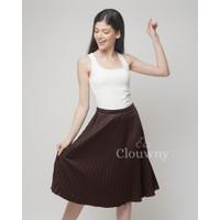 Vamos Midi Pleat Skirt Premium Plisket Pleats Clouwny Rok Plisket - Dark Choco