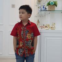 Ciara Red - Addis Boy Shirt / Kemeja Batik Anak Laki-Laki