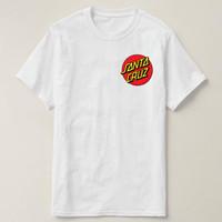 White T-Shirt   Kaos Distro Simple (SANTA CRUZ STICKER)