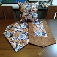 Sarung Bantal Sofa Kursi 1 Set Murah Shabby Mewah Bunga Warna Coklat