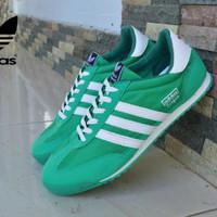 sepatu Casual pria Adidas dragon hijau list putih import