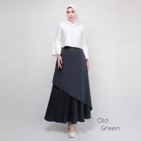 rok plisket premium import pleated skirts maxi-PUMPKIN - old green