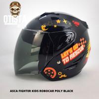 Helm Half Face Asca Fighter Kids Robocar Poly Black Smoke All Size S