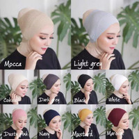 Ciput rajut hitam dalaman hijab bandana rajut polos 1 warna inner