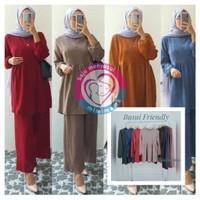Baju Hamil Menyusui One Set Celana Babydol Premium - Hitam