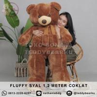 Boneka Teddy Bear FLUFFY SYAL SUPER SUPER JUMBO 1,2 METER WARNA COKLAT