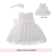 DRESS PESTA BAYI SET BANDANA WARNA PASTEL PARTY DRESS BABY - Putih, 80