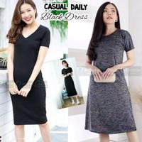 Black Dress Hitam Polos Baju Dress Wanita Pakaian Dres Santai Casual