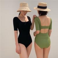 Baju renang wanita backless atasan pantai summer green black hijau