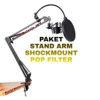 PAKET STAND MIC ARM POP FILTER SHOCKMOUNT CONDENSER MICROPHONE