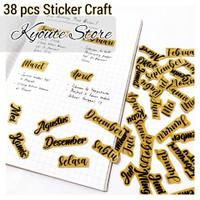 38 pcs Sticker Lettering Days Months Craft Paper Scrapbook Journal Art