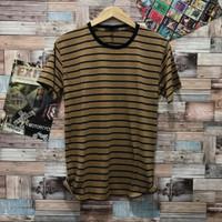 Kaos salur kuning kaos belang distro pria baju atasan cowok t shirt