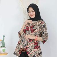 blouse batik atasan wanita kerja jumbo motif lurik batik pekalongan