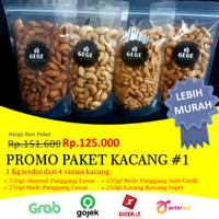 *PROMO* Paket Murah 1kg isi Almond Panggang, Mede, Kacang Bawang