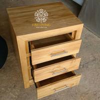 Bedside Table 3 Laci Warna Natural Wood Bleaching