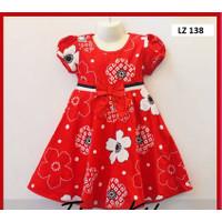 Baju Dress Anak Perempuan Motif Bunga Umur 5 Tahun Bahan Katun Jepang - 5-6 tahun