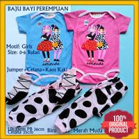 Baju Jumper Bayi Baru Lahir Perempuan 0-6 Bulan Motif GIRLS Lucu