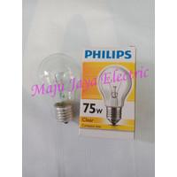 Lampu Pijar Philips Clear 75 w Watt 75W Standard Bulb E27 Compact A55