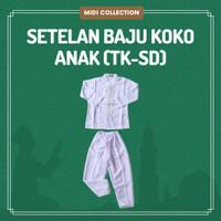 Setelan/Atasan & Bawahan Baju Koko Anak (TK-SD) Warna Putih AL-MOSLEM