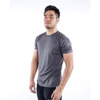 Kaos Olahraga Pria / T-shirt Bahan Dry Fit / Baju Olahraga Pria AD01 - M, Abu-abu
