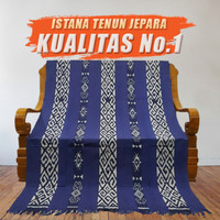 Kain Tenun Ikat Blanket Batik Biru Donker Motif NTT Toraja