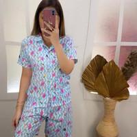 Baju Tidur Piyama Dewasa Premium Hot Pants Karakter Blue Flaminggo