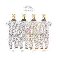 NOVA Setelan Baju Bayi Lengan Pendek + Celana Panjang Motif 0-3 Bulan
