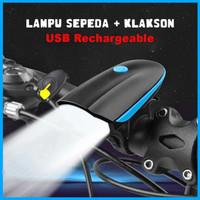 Lampu Sepeda Depan Rechargable Dengan Klakson