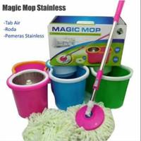 alat pel magic mop stainless dengan bak air