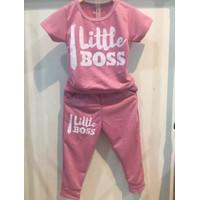 Chang Fashion Setelan Celana Panjang I Little Boss - Pink, 8-9 tahun