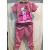 Chang Fashion Setelan Celana Training Panjang SING CAT Anak Perempuan - Pink, 2-3 tahun